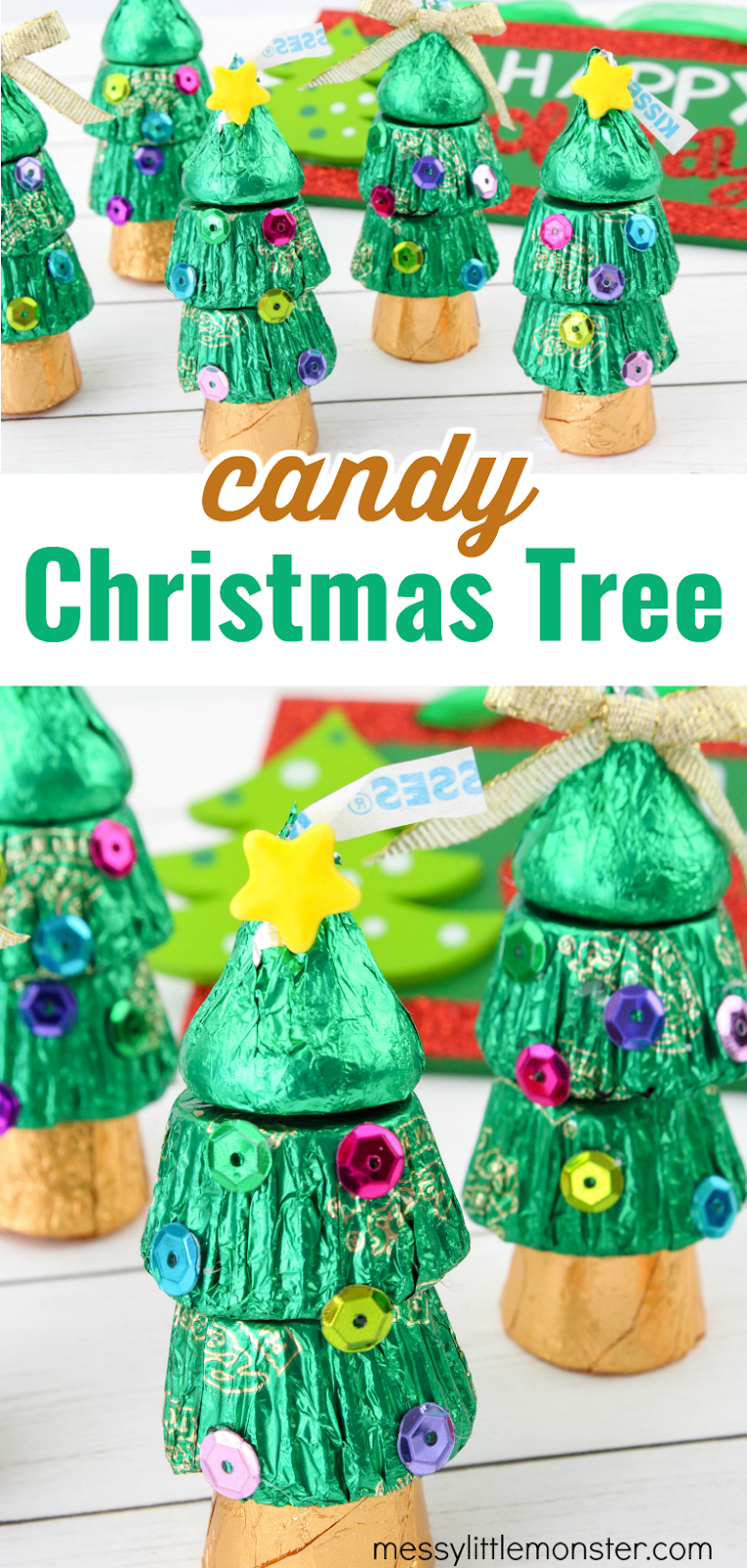 Candy Christmas tree craft. Easy Christmas treats for kids.