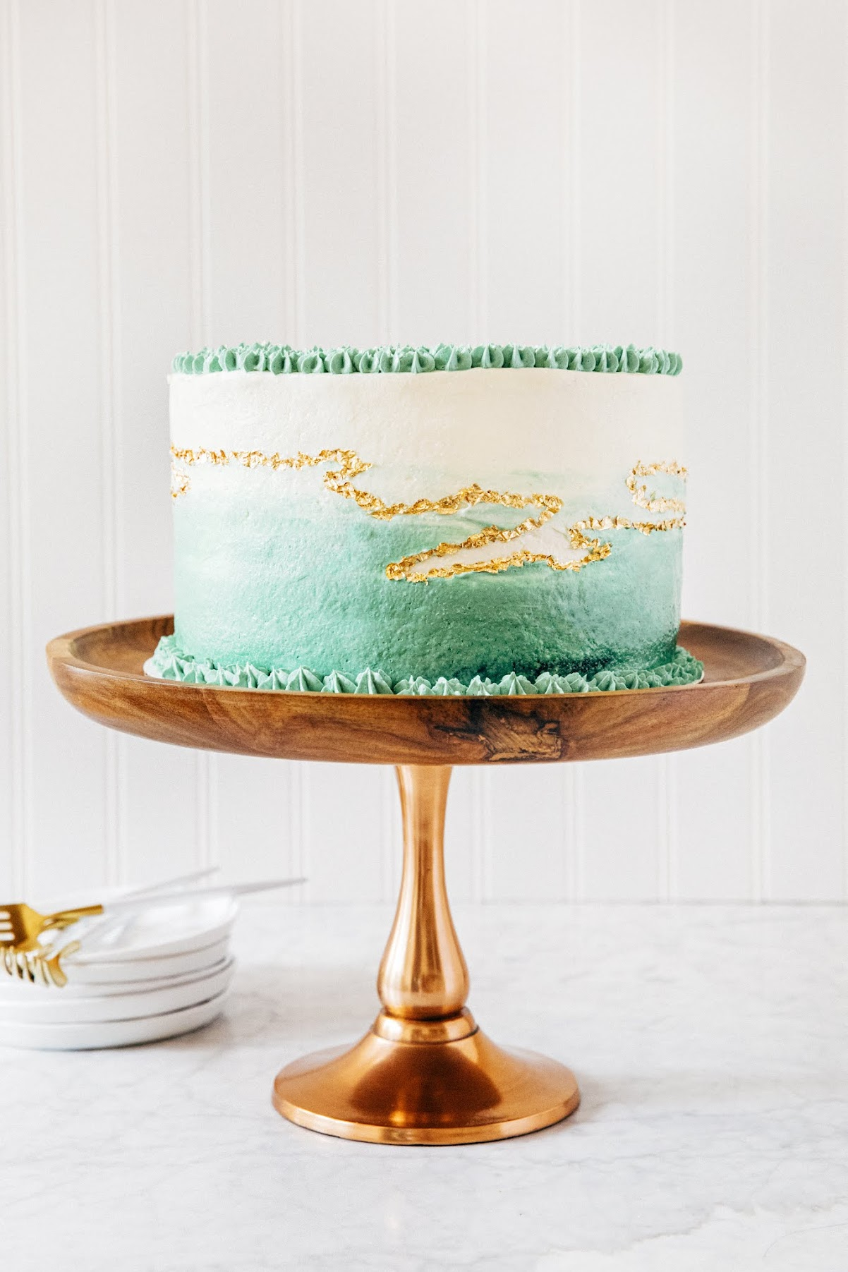 mint chocolate kintsugi cake