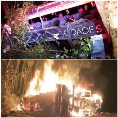 Cinco morrem e 10 ficam feridos após batida entre ônibus e carreta na BR-101
