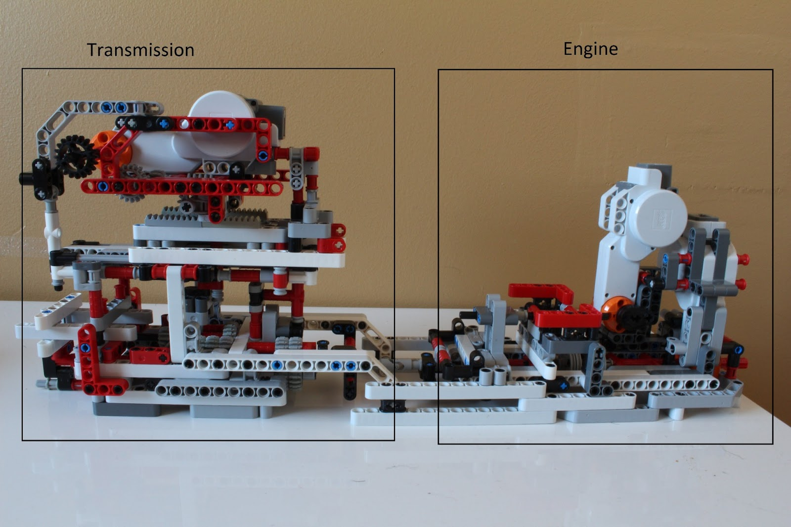 LEGO Transmission with Mindstorms NXT   Hussein s Blog Engine  This component consists of the motor  which would actually attach  to the right of the component highlighted above  it isn t shown in that  picture