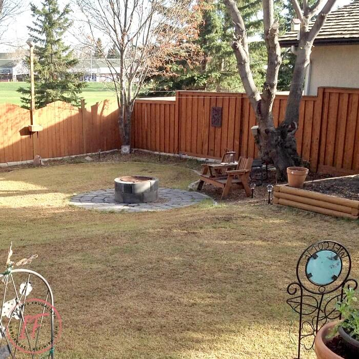 Backyard Cinder Block Fire Pit Before