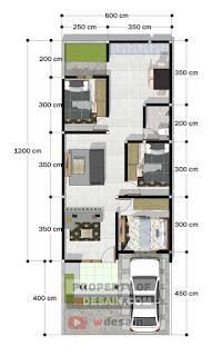 Denah rumah ukuran 6x12 dengan 3 kamar