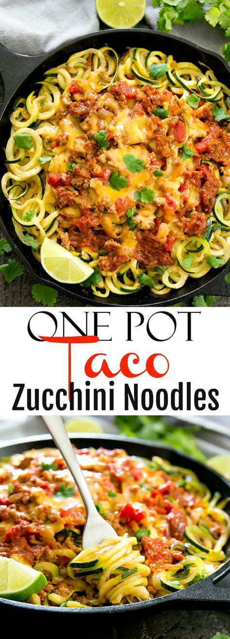 A healthier and low carb version of one pot taco spaghetti.