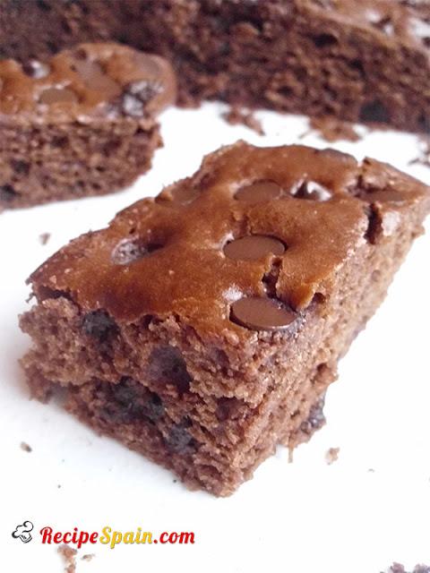 Chocolate sponge cake with chocolate chips