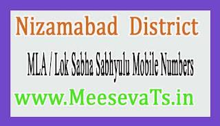 Nizamabad  District MLA & Lok Sabha Sabhyulu Mobile Numbers List Telangana State