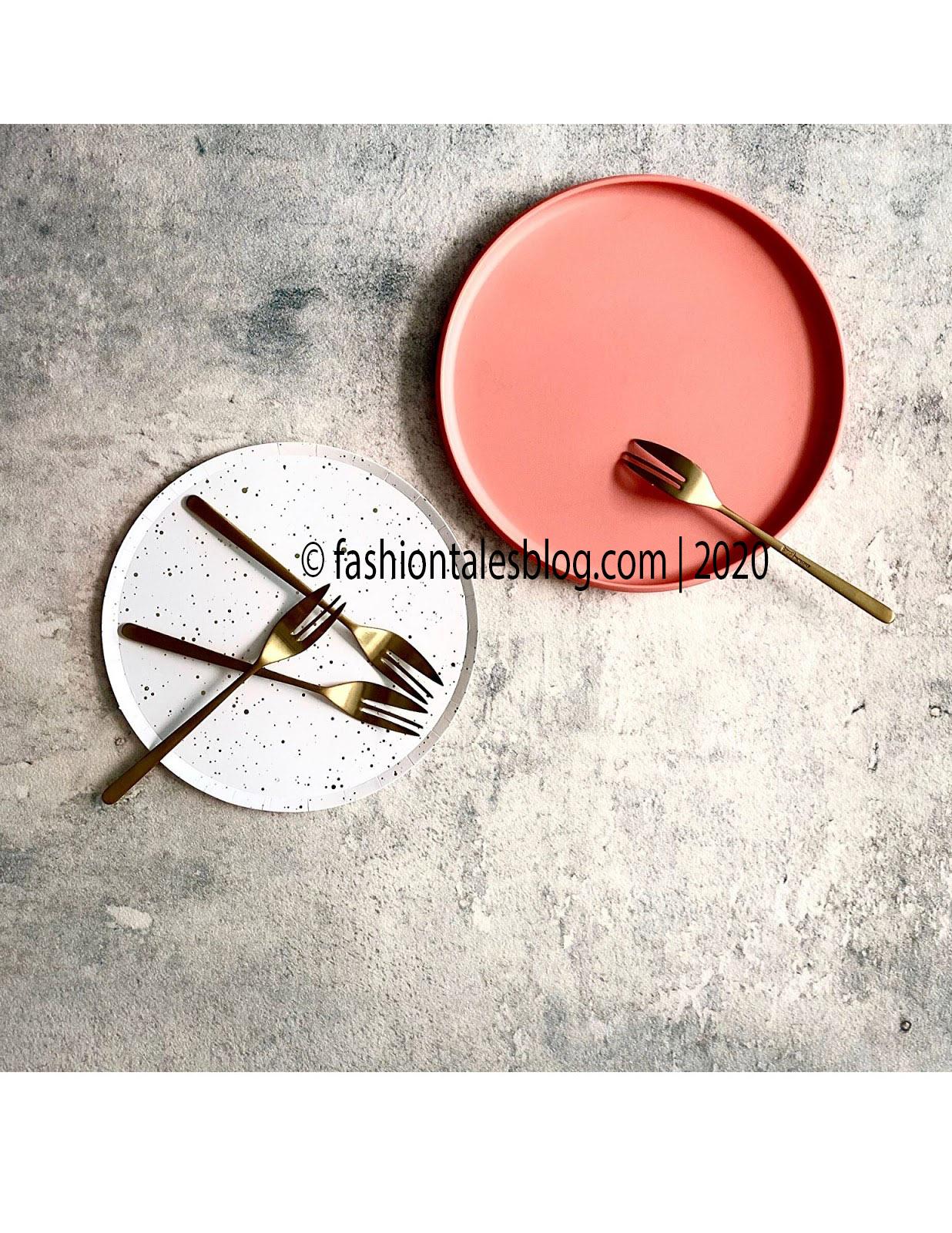 white plate gold forks
