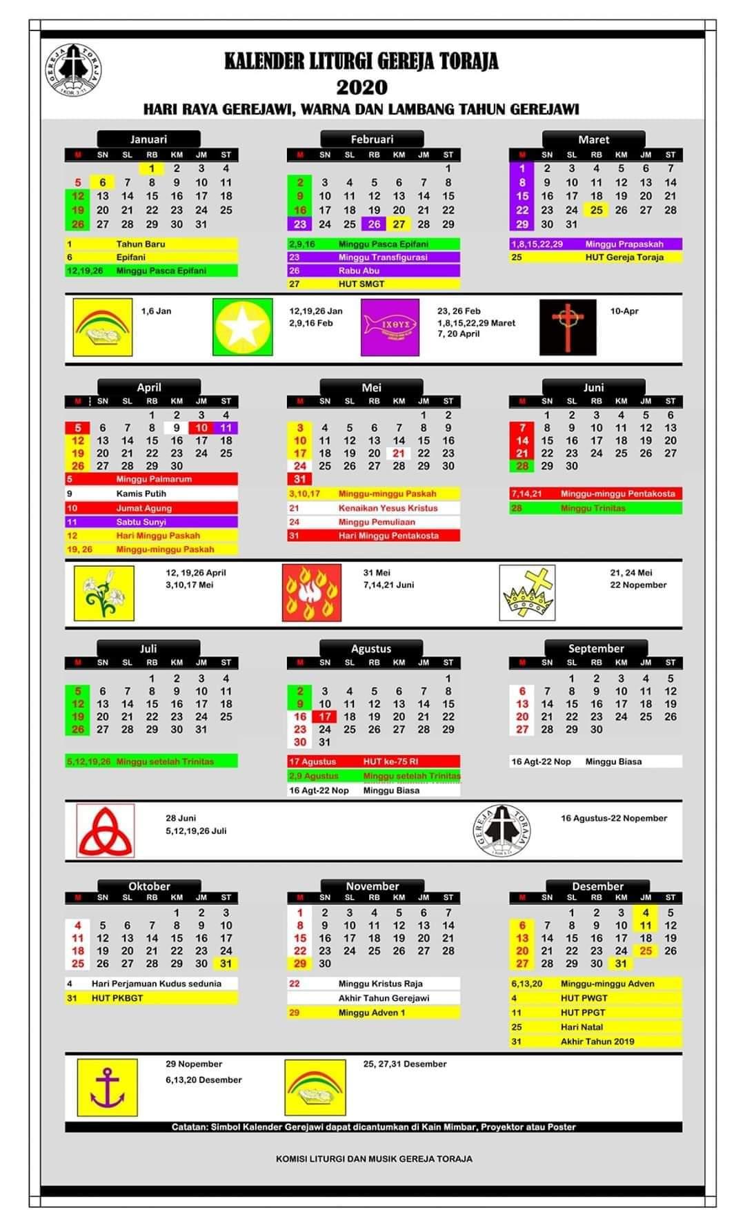 Kalender Liturgi Gereja Toraja 2020