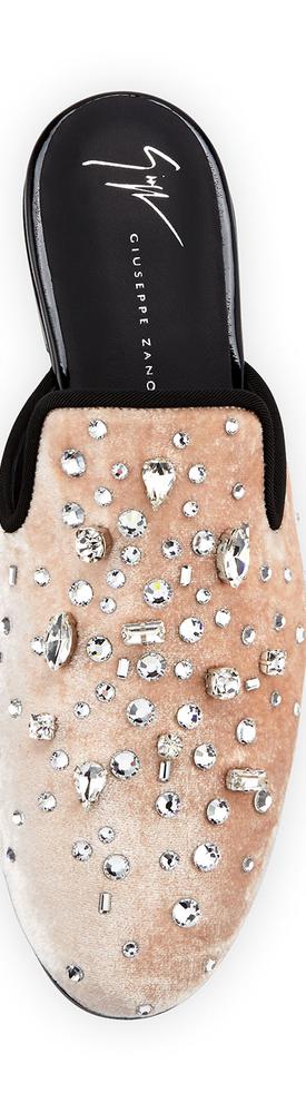 Giuseppe Zanotti Jeweled Velvet Flat Mule