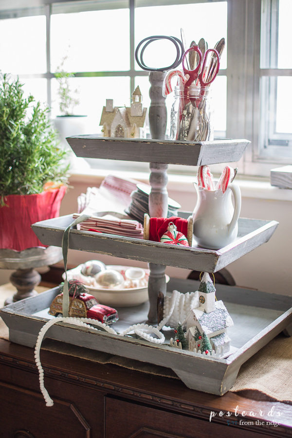 3 tier wooden tray with Christmas decor