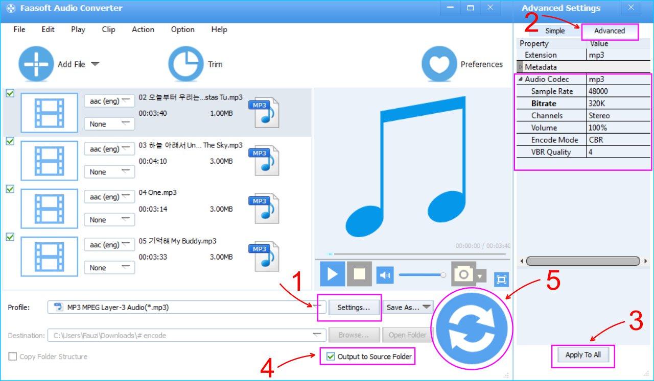 Faasoft Audio Converter - Lakukan Pengaturan Audio Hasil Convert