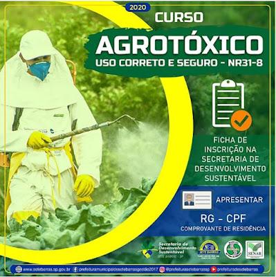Estão abertas as pré-inscrições para o curso de Agrotóxico em Sete Barras