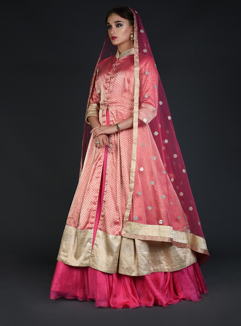 Pink Cream Kimkhab Handwoven Banarasi Peshwa Kalidaar Outfit INR 98000