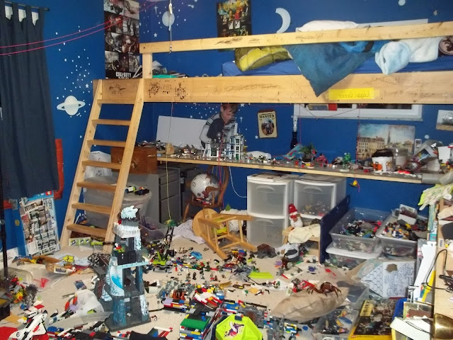 Messy kids room with Legos everywhere