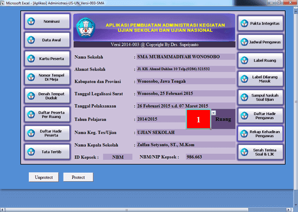 Aplikasi Pembuatan Administrasi Kegiatan US (Ujian Sekolah) dan UN (Ujian Nasional) Format Microsoft Excel