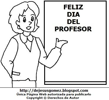 Dibujo de una profesora, maestra o docente para colorear, pintar e imprimir (Profesora mostrando su pizarra). Dibujo de una Profesora o maestra de Jesus Gómez