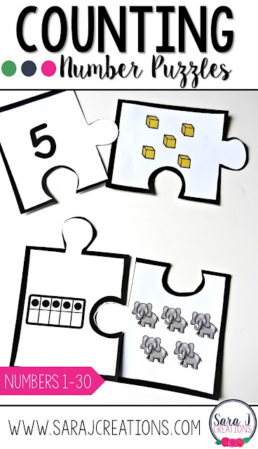 Number puzzles make a fun counting activity for kindergarten or preschool.