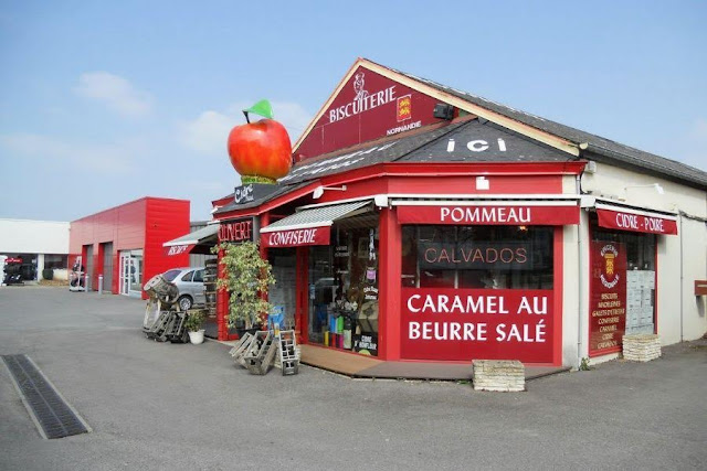 Paris to Normandy Road Trip: Shop selling regional specialties like cidre and calvados