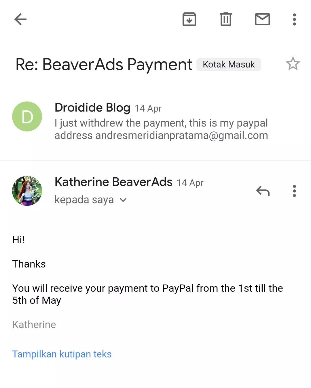 Bukti Pembayaran Pertama Beaverads