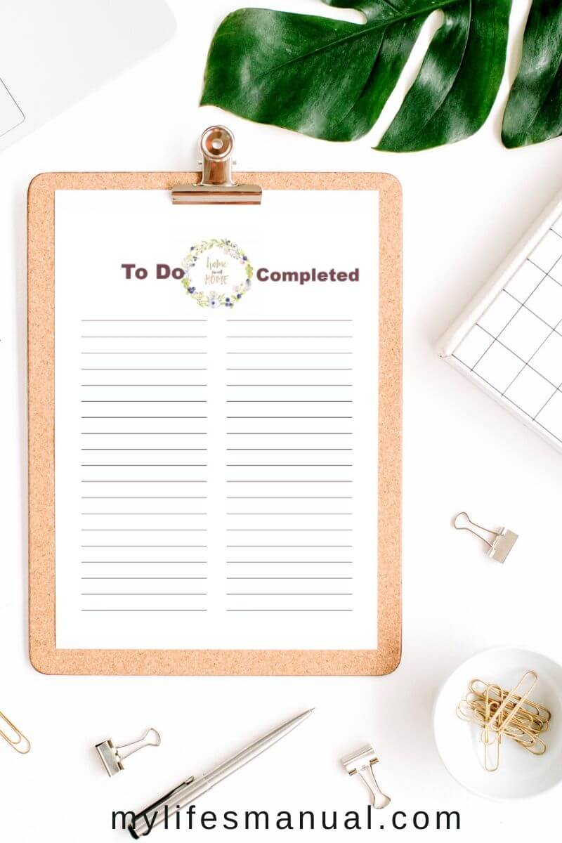 To-do list completed. Home binder free printables