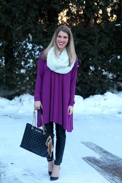 purple tunic, leather pants, black heels, quilted leather tote