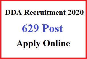 Delhi DDA Various Post Online Form, DDA Recruitment 2020, DDA Online Form