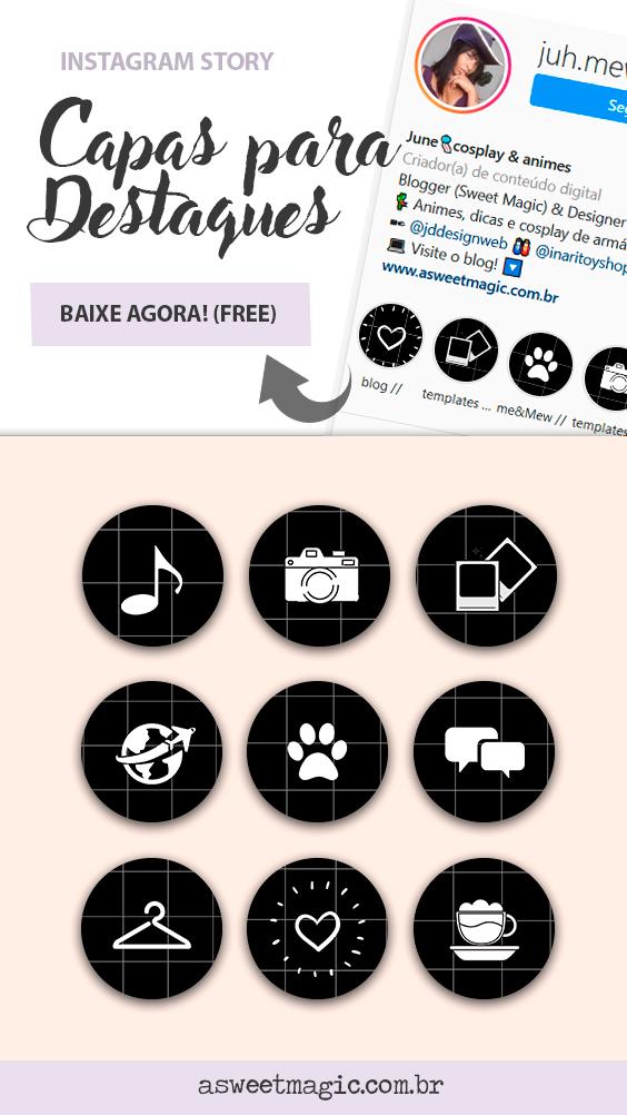 Freebie: Icones para Destaques do Instagram - Preto Quadriculado