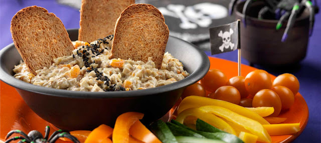 Roasted Eggplant And Pepper Dip With Black 'Bugs' Recipe