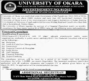University Of Okara Punjab Jobs in Pakistan universities 03/03/2021 Latest