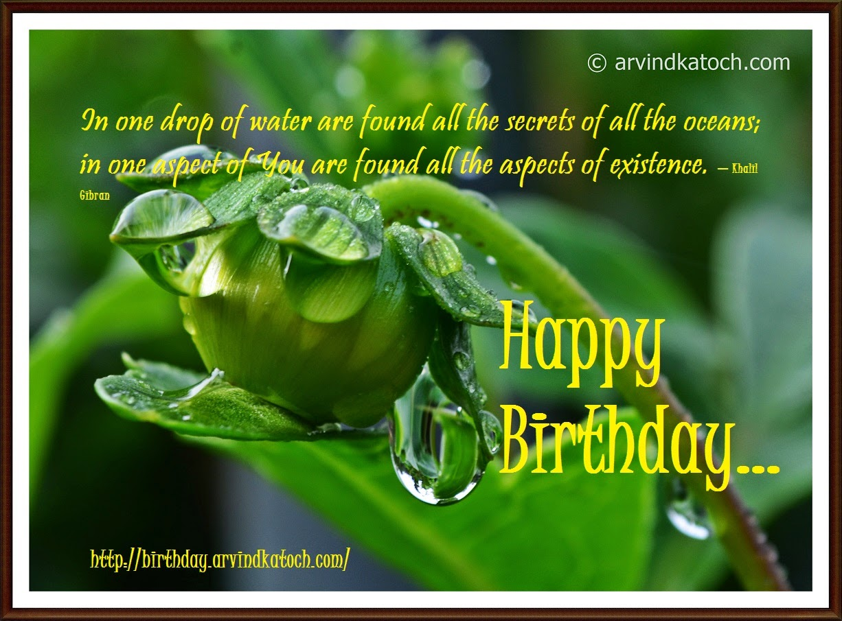 In One Drop Of Water Are Found Happy Birthday Card On