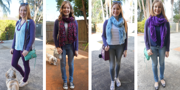 wearing purple pieces with a purple cardigan 4 outfit ideas awayfromtheblue