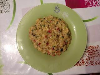 Risotto with zucchini and chorizo