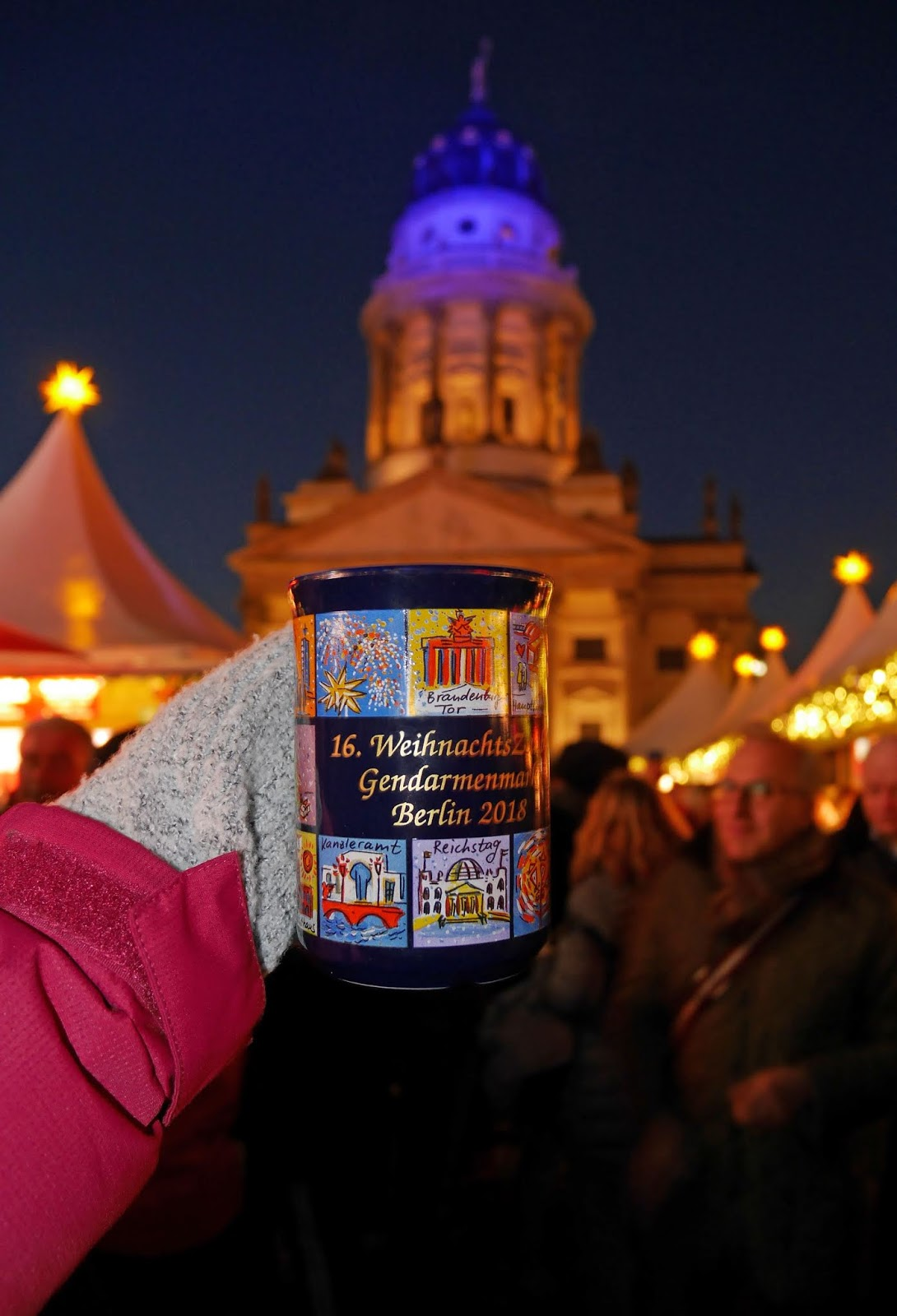 Drinking a non-alcoholic festive fruit punch at the Gendarmenmarkt Christmas Market in Berlin