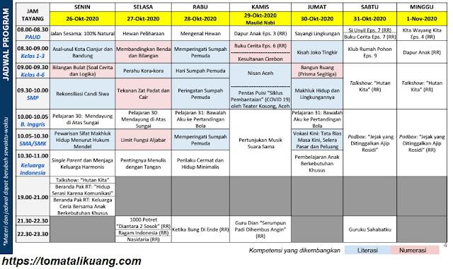jadwal program belajar dari rumah bdr tvri 26 27 28 29 30 31 oktober 2020 dan 1 november 2020 pdf tomatalikuang.com