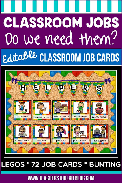 """Image with a bulletin board containing classroom job cards with text """"Classroom Jobs - are they worth it?"""""""