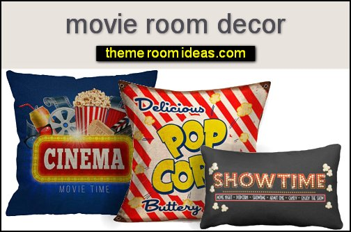 movie room pillows Popcorn Cinema Decorative Pillow home theater pillows home cinema decor movies decorations film decor