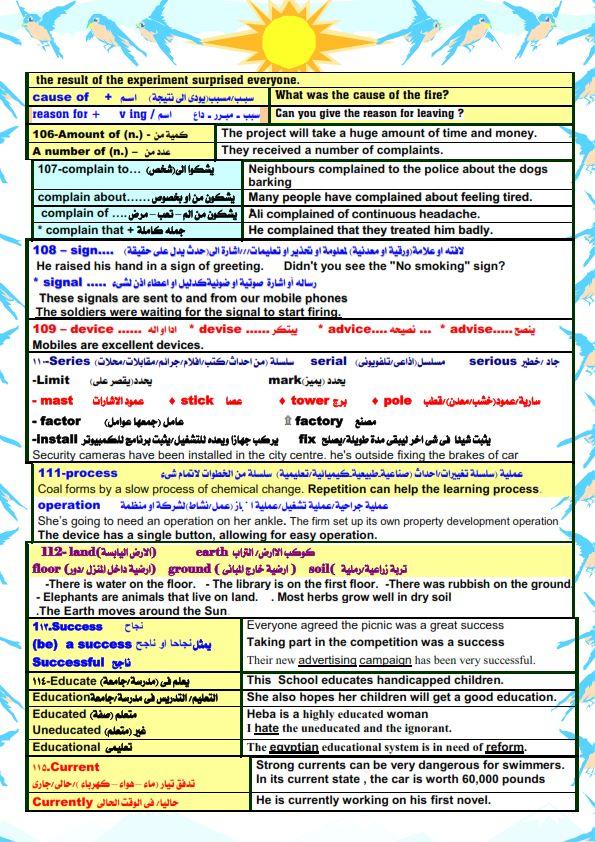 قواعد اللغة الانجليزية والملاحظات اللغوية للصف الثالث الثانوي مستر/ أحمد فرحات 12