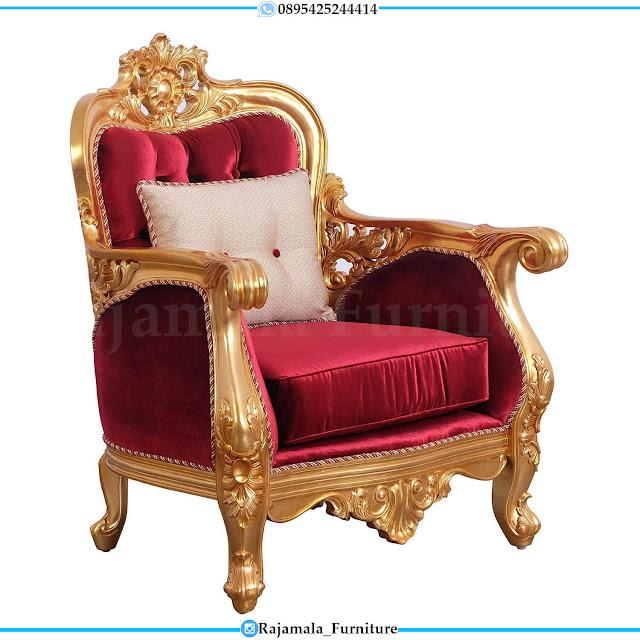 Luxury Desain Sofa Tamu Mewah Ukir Jepara Elegant Golden Base Color RM-0500