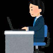 横から見たパソコンで仕事をする人のイラスト(男性)