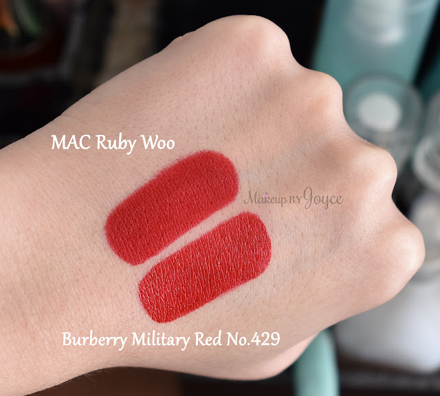 Mac Retro Matte Ruby Woo Lipstick Burberry Military Red No.429 Swatches