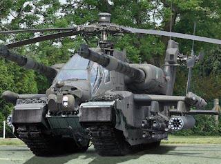 helicóptero y tanque
