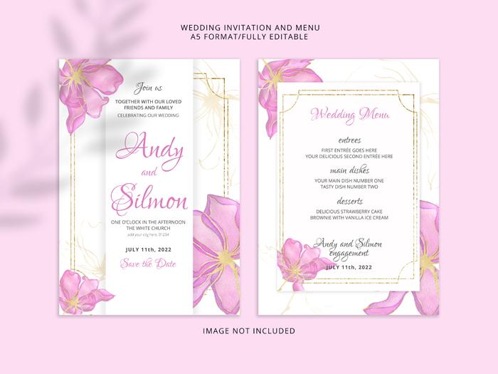 Wedding Invitation Card Pink Watercolour Flowers Premium PSD