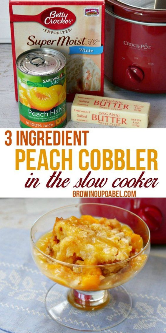 Easy 3 Ingredient Crock Pot Peach Cobbler with Cake Mix #recipes #dinnerrecipes #goodfastrecipes #goodfastrecipesfordinner #food #foodporn #healthy #yummy #instafood #foodie #delicious #dinner #breakfast #dessert #lunch #vegan #cake #eatclean #homemade #diet #healthyfood #cleaneating #foodstagram