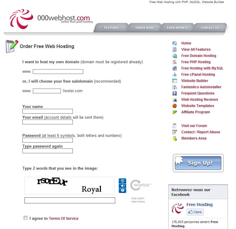 Hebergement Web Gratuit Inscription Gratuite A 000webhost