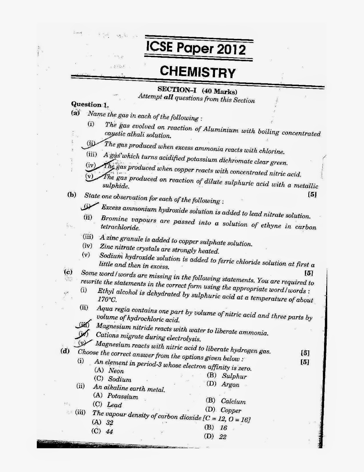 Icse Science Chemistry Solved Question Paper