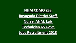 NHM CDMO ZSS Rayagada District Staff Nurse, ANM, Lab Technician 65 Govt Jobs Recruitment Notification 2018