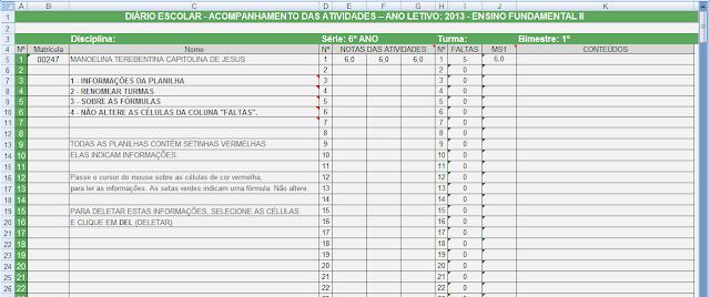 Diário Escolar 2013 liberado para download - Planilha de notas