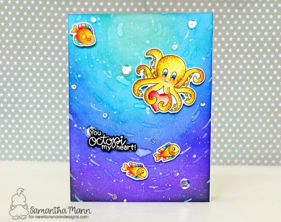 Octopus Card by Samantha Mann | Tides of Love Stamp Set by Newton's Nook Designs #newtonsnook #handmade
