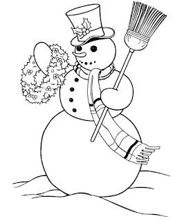 ציור בובת שלג עם מטאטא לצביעה