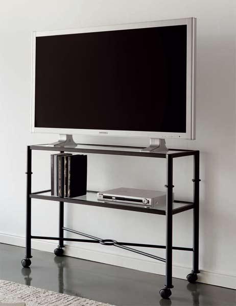Muebles de forja mesas tv forja con ruedas for Mesas de tv con ruedas
