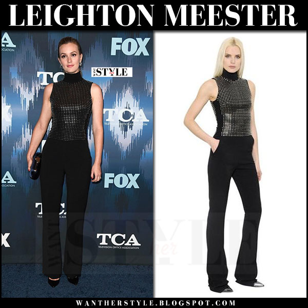Leighton Meester in black studded jumpsuit david koma what she wore
